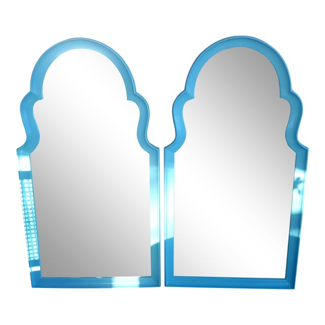Set of 2- Vintage Moroccan Style Turqouise Blue Mirrors For Sale