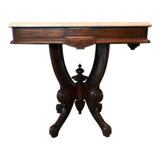 Victorian Marble Top Wood Table For Sale
