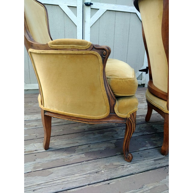 Gold Vintage Meyer Gunther Martini Louis XV Carved Hardwood Bergere French Chairs- a Pair For Sale - Image 8 of 13