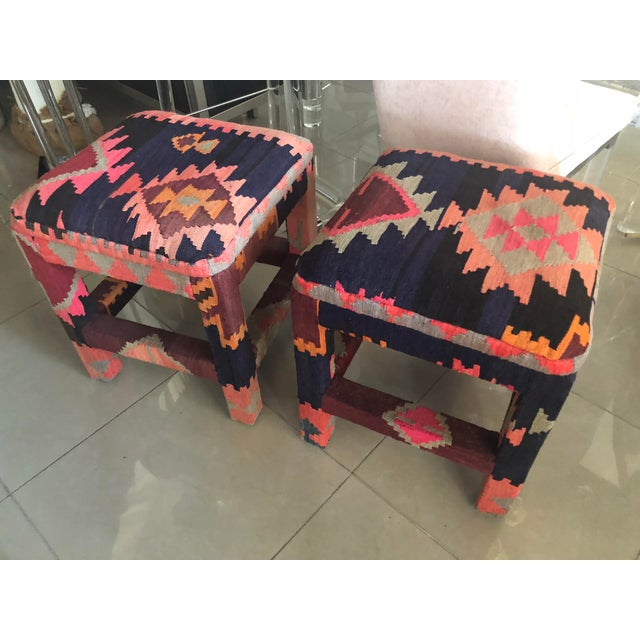 Vintage Boho Kilim Rug Upholstered Benches Stools Ottomans -A Pair For Sale - Image 9 of 13