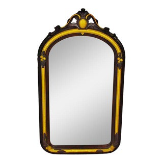 French Empire Style Painted Carved Wood Wall Mirror For Sale