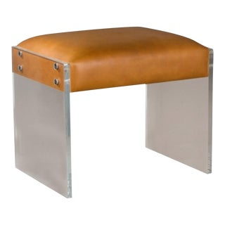 Contemporary Interlude Home Aiden Acrylic Leather Stool