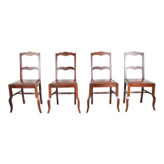 Antique Set of 4 French Country Style Oak Dining Chairs W/ Leather Seats For Sale