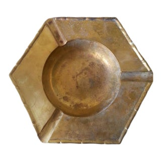 1970s Art Deco Brass Hexagon Ashtray For Sale