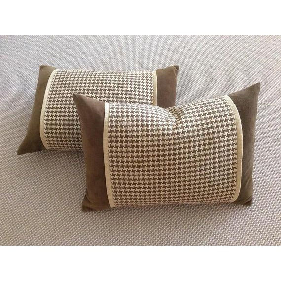 Chocolate Brown Velvet, Brown & Cream Houndstooth Check Woven Pillow Covers - A Pair - Image 5 of 5