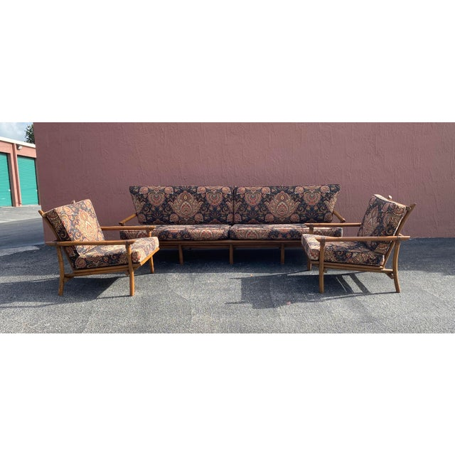Wood Vintage Bamboo Long Sofa in the Manner of John Wisner for Ficks Reed For Sale - Image 7 of 9