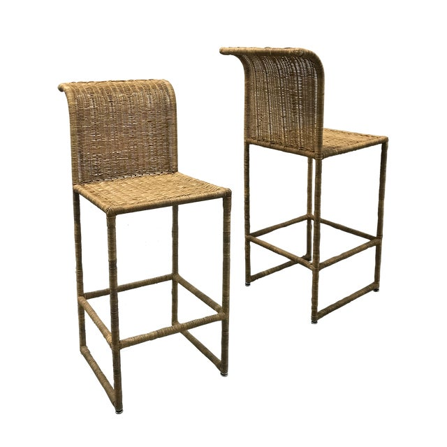 Mid-Century Modern Rattan Bar Stools - a Pair For Sale - Image 13 of 13
