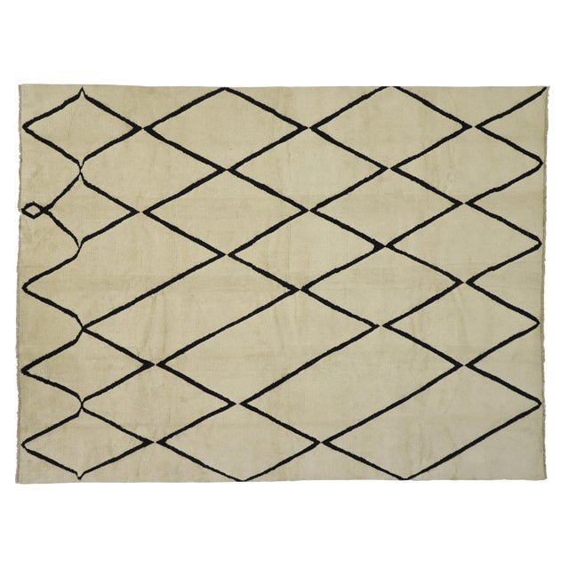 Contemporary Moroccan Area Rug With Modern Style - 10'02 X 13'05 For Sale