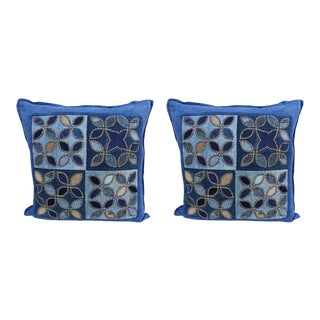 Custom Blue Quilted Square Shaped Pillows - A Pair