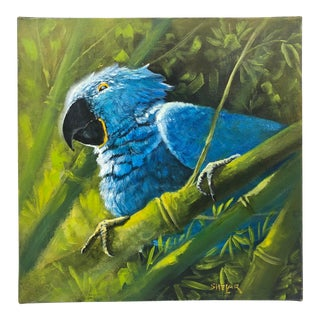Painting of a Blue Parrot For Sale