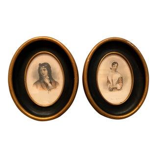 Vintage Mid-Century Oval Portrait Prints - A Pair For Sale
