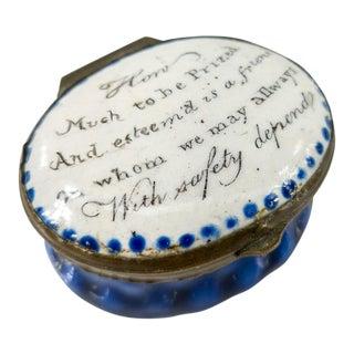 Mid 19th Century English Battersea and Bilston Enamel Pill Box For Sale