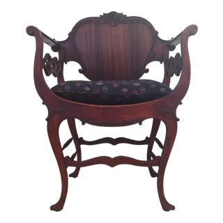 1930's Savonarola Renaissance Style Side Chair For Sale