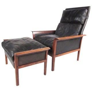 Model 924 Lounge Chair With Ottoman Designed by Knut Sæter for Vatne Mobler For Sale