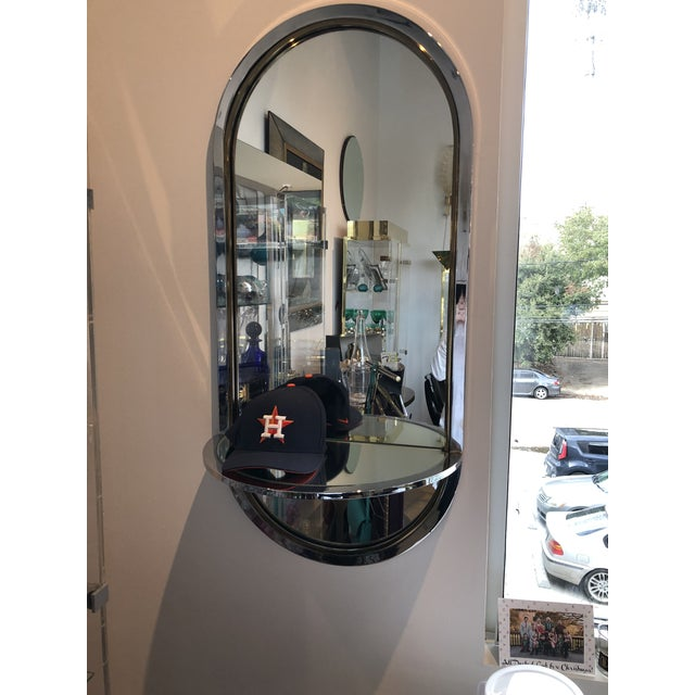 Mid Century Modern Design Institute America Chrome & Brass Mirror with Mirror Console - Image 11 of 11