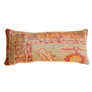 Reclaimed Vintage Turkish Rug Fragment Lumbar Pillow For Sale