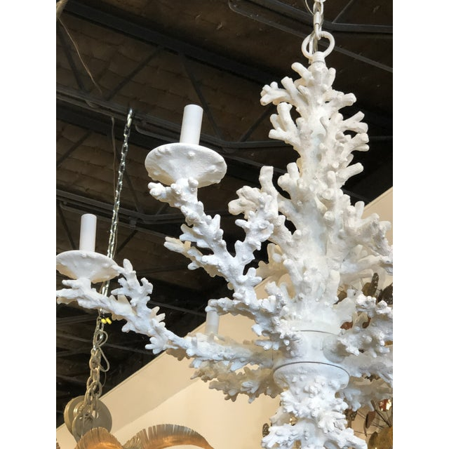 1980s Vintage Palm Beach Tropical White Faux Coral 6 Light Chandelier For Sale - Image 5 of 11