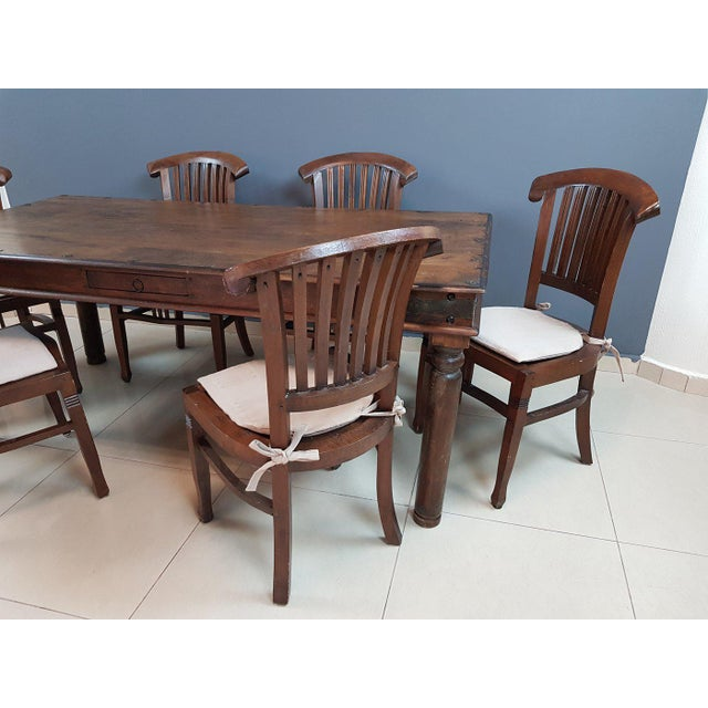 Vintage Wood Colonial Dining Set Table and 6 Chairs For Sale - Image 4 of 13