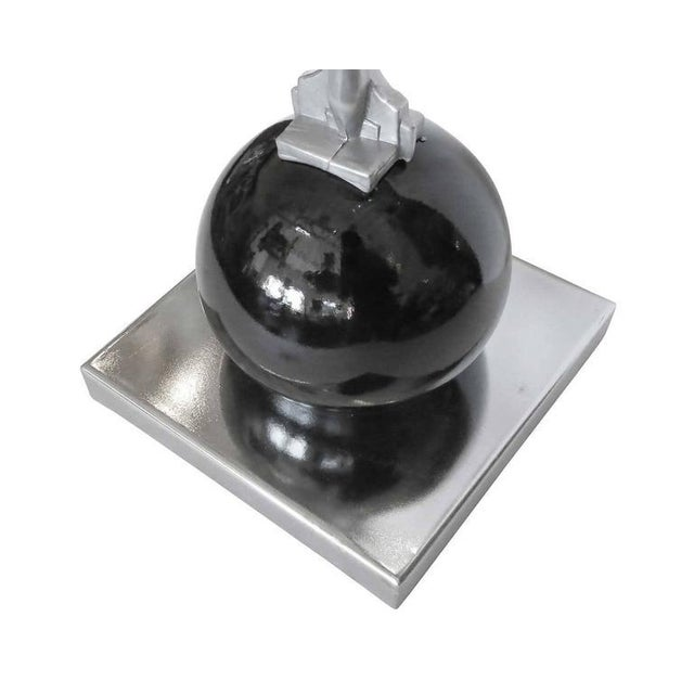 Frankart Style Silvertone and Onyx Nude Figural Cocktail Smoker Ashtray For Sale - Image 9 of 10