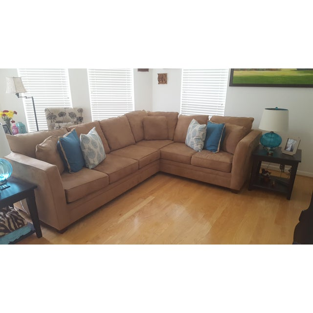 Macy's Macy's L-Shaped Suede Sectional Sofa For Sale - Image 4 of 5