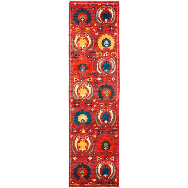 """Suzani Hand-Knotted Runner 2' 9"""" x 10' 5"""" For Sale - Image 4 of 4"""