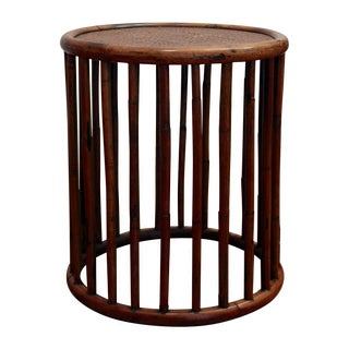 Bamboo Rattan Cylindrical Side Table For Sale