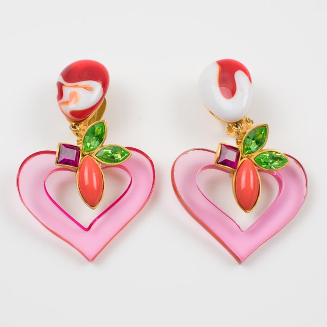 French Christian Lacroix Paris Jeweled Pink Resin Heart Dangling Clip on Earrings For Sale - Image 3 of 7