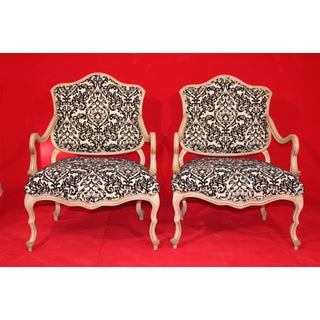 Pair of Vintage Italian Hollywood Regency Carved Wood Low Boudoir Chairs Black White Damask Preview