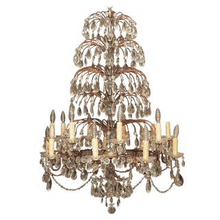 Italian 18 Lite Crystal Tiered Chandelier For Sale