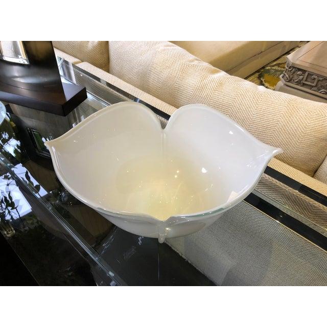 Glass 1980s Vintage Barovier E Toso Vetri Murano Italian Art Glass Centerpiece Bowl For Sale - Image 7 of 9