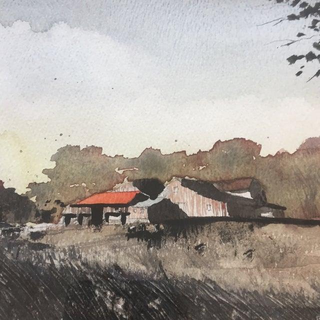 Vintage Original Watercolor Landscape W/ Cows Painting For Sale - Image 4 of 7