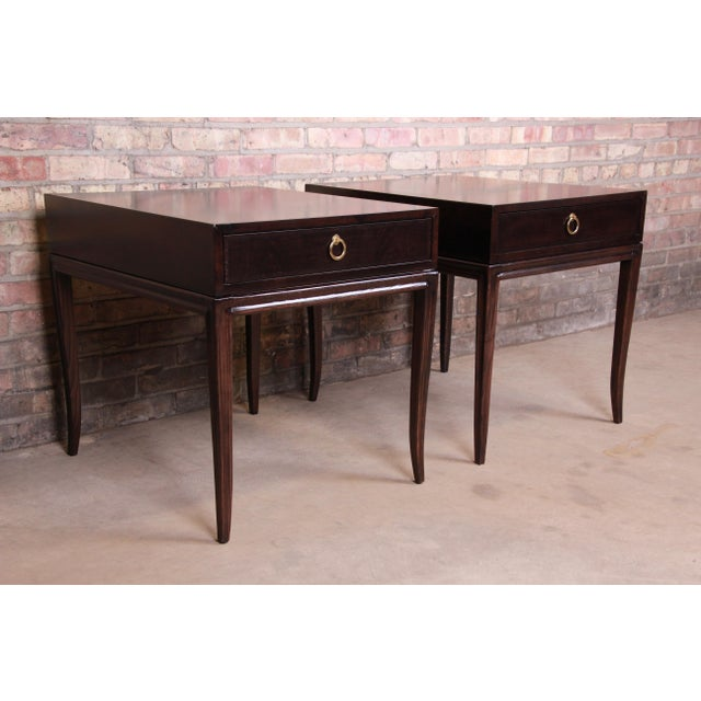 Mid-Century Modern Drexel Heritage Hollywood Regency Mahogany Nightstands or End Tables, Newly Refinished For Sale - Image 3 of 13