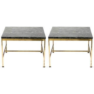 Pair of 1970s Paul McCobb Style Brass and Marble Side Tables For Sale