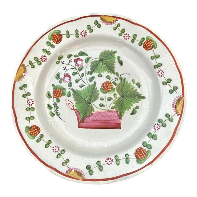 1800 English Soft Paste Strawberry Plate For Sale