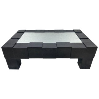 Black Lacquered and Mirrored Coffee Table in the Manner of Josef Hoffmann For Sale