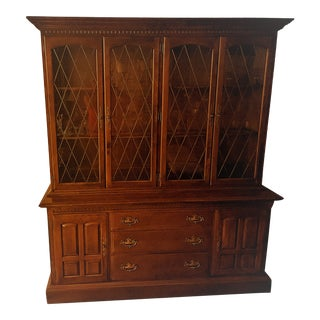 Ethan Allen Classic Manor Solid Maple Display Cabinet For Sale