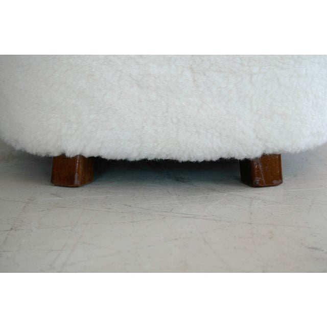 Animal Skin Viggo Boesen Style Lounge Chair Covered in Lambswool by Slagelse Mobelvaerk For Sale - Image 7 of 9