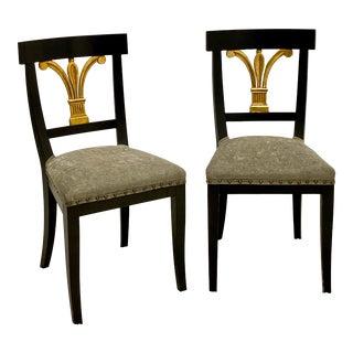 Pair of Ebonized & Gilt Regency Style Italian Chairs For Sale
