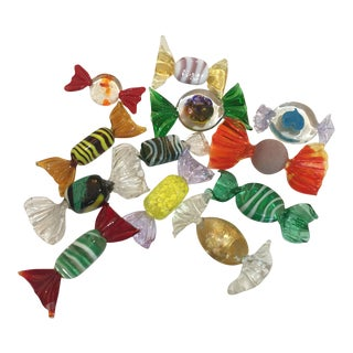 Mid-Century Collection of Murano Wrapped Faux Candies - All Different -- Set of 14 For Sale