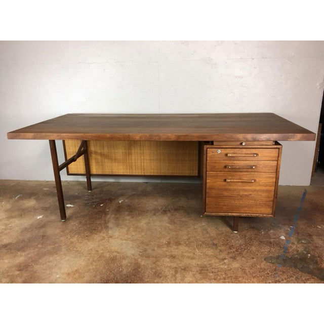 Large Walnut Executive Desk - Image 2 of 11