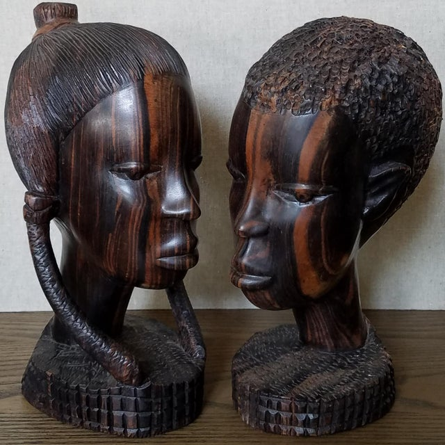 African Zebra Wood Male & Female Busts, a Pair For Sale - Image 9 of 9