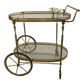 Traditional Brass Bar Cart For Sale