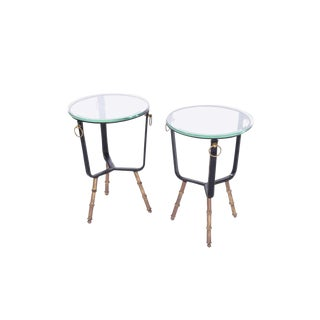 Jacques Adnet Stitched Leather Side Tables - a Pair For Sale