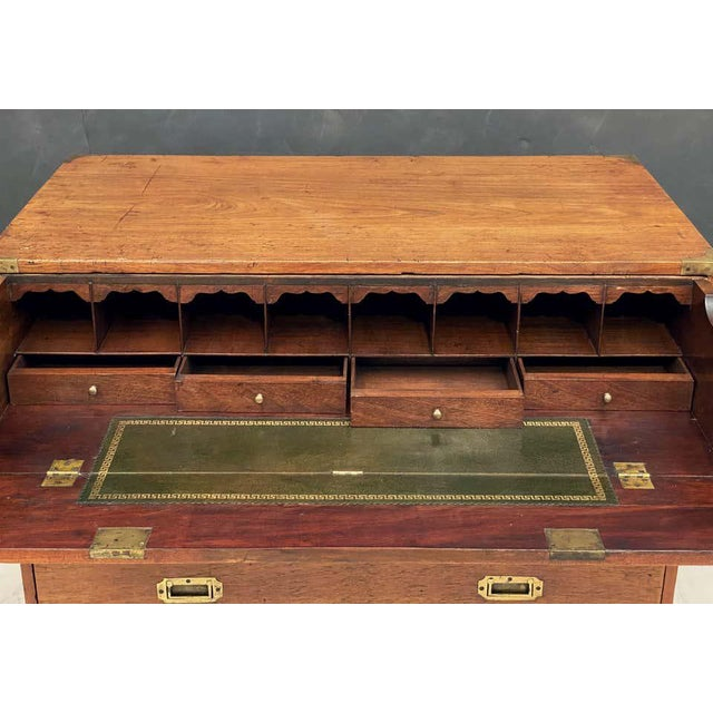 English Officer's Campaign Chest Secretaire of Teak and Brass For Sale - Image 11 of 13