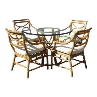 Vintage Mid Century Modern McGuire Dining Room Set- 5 Pieces For Sale