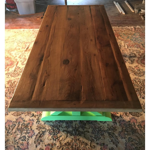 2010s Green Painted Pine Farm Table For Sale - Image 5 of 5