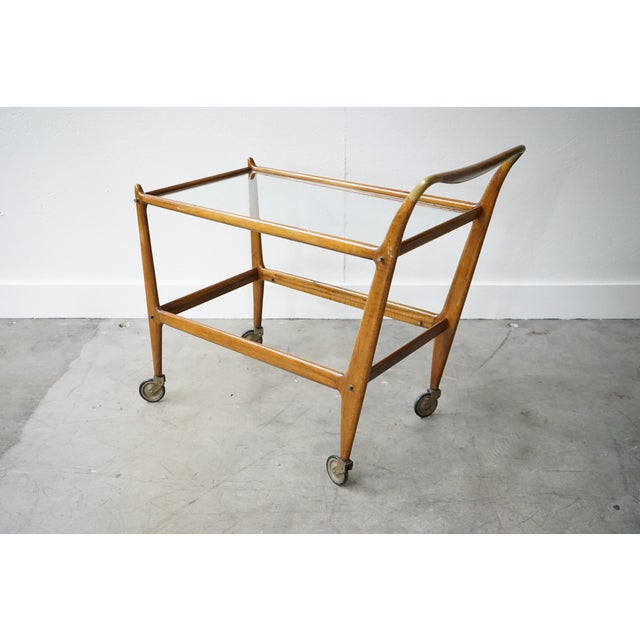 Mid-Century Wooden Bar Cart With Glass Shelves For Sale - Image 4 of 7