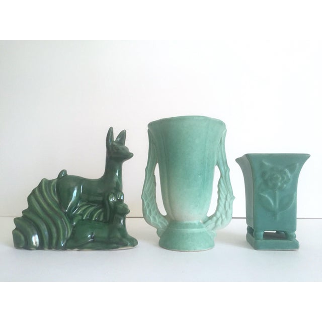 Various Artists Rare Vintage 1930's Art Deco Niloak Green Art Pottery - Set of 3 For Sale - Image 4 of 11