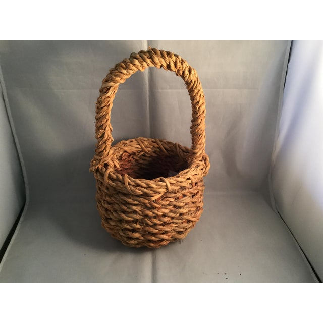American Hemp Wishing Well Basket For Sale - Image 3 of 6