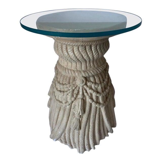 1970s Hollywood Regency Plaster Tassel Motif Glass Top Side Table For Sale